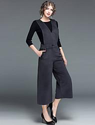 preiswerte -Damen Solide Street Schick Ausgehen Lässig/Alltäglich Pullover Hose Anzüge,Rundhalsausschnitt Herbst Winter 3/4 Ärmel Polyester > 75%