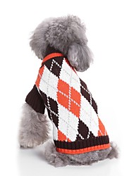 cheap -Cat Dog Sweater Dog Clothes Plaid/Check Coffee Blue Acrylic Fibers Costume For Pets Men's Women's Casual/Daily Fashion Warm Ups New Year's
