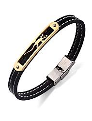 preiswerte -Herrn Edelstahl Leder Armband Lederarmbänder - Einfach Rock Kreisförmig Gold Schwarz Armbänder Für Normal Bühne