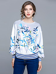 abordables -Mujer Vintage Floral / De Gran Tamaño Camiseta Floral Manga Farol