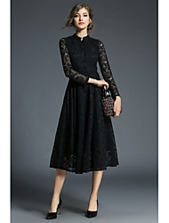 cheap -Women's Party Daily Vintage Casual Sexy A Line Little Black Swing Dress,Jacquard Hollow Stand Knee-length Long Sleeve Cotton Polyester
