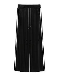 abordables -Mujer Casual Chic de Calle Tiro Alto Perneras anchas Chinos Pantalones,Un Color A Rayas Algodón Poliéster Licra Todas las Temporadas