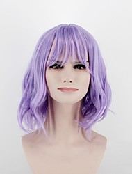 cheap -Women Synthetic Wig Capless Medium Length Curly Bright Purple Middle Part Natural Wigs Costume Wig