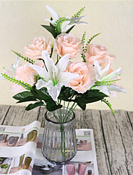 cheap -1 Branch Polyester Lilies Roses Tabletop Flower Artificial Flowers