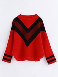 preiswerte -Mädchen Bluse Gestreift Baumwolle Herbst Rote