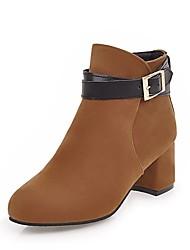 Недорогие -Жен. Обувь Дерматин Зима Модная обувь Ботинки На толстом каблуке Круглый носок Ботинки для Для праздника Черный Бежевый Желтый Красный