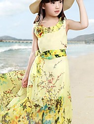 Girl's Holiday Going out Floral Dress,Others ½ Length Sleeve Boho Yellow