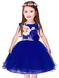 cheap -Girl's Christmas Birthday Floral Dress, Polyester Sleeveless Cute Princess Blue Red