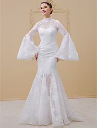 cheap -Mermaid / Trumpet High Neck Chapel Train Satin All Over Lace Wedding Dress with Appliques Lace by LAN TING BRIDE®