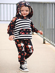 cheap -Girls' Striped Floral Clothing Set, Cotton Polyester Spring Fall Long Sleeves Cute Active Black
