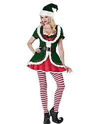 cheap -Santa Claus / Mrs.Claus Outfits Women's Christmas Festival / Holiday Halloween Costumes Green Mixed Color / Holiday / Christmas
