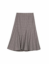 cheap -Women's Daily Knee-length Skirts Pencil Cotton Modal Check Winter