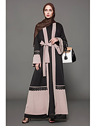cheap -Women's Abaya Dress - Solid Colored / Color Block Lace Low Rise Maxi