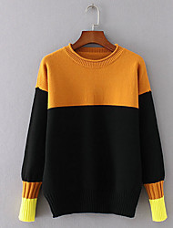 cheap -Women's Daily Wear Casual/Daily Simple Regular Pullover,Striped Color Block Round Neck Long Sleeves Acrylic Winter Fall Thick