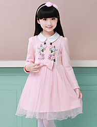 cheap -Girl's Solid Florals Embroidered Dress,Cotton Polyester Long Sleeves Cute Blushing Pink