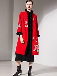 Недорогие -Для женщин На выход На каждый день Осень Зима Пальто Воротник-стойка,Простой Уличный стиль Изысканный Лолита Длинная Шерсть Полиэстер,