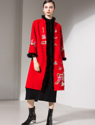 abordables -Mujer Sofisticado Chic de Calle Largo Abrigo Escote Chino - Lolita Elegante Detalles en Piel