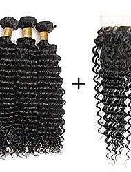 baratos -4 pacotes Cabelo Brasileiro Onda Profunda Cabelo Remy Cabelo Humano Ondulado Tramas de cabelo humano Extensões de cabelo humano