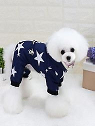 Gato Cachorro Casacos Camisola com Capuz Roupas para Cães Algodão Inverno Primavera/Outono Casual Mantenha Quente Estrelas Vermelho Azul