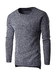 Недорогие -Муж. Активный Пуловер - Однотонный Контрастных цветов Круглый вырез