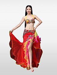 cheap -Belly Dance Outfits Women's Performance Cotton Polyester Lace Bead Pleated Petals Crystals/Rhinestones Skirts Bra