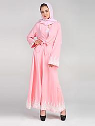 Jalabiyah Robe Femme Soirée Décontracté / Quotidien simple Rétro,Couleur Pleine Mosaïque Col Arrondi Maxi Manches Longues Polyester Autres