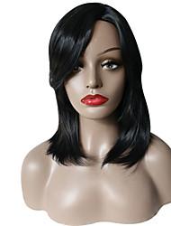 Недорогие -Парики из искусственных волос Волнистый С чёлкой Искусственные волосы Боковая часть / Парик в афро-американском стиле Черный Парик Жен.