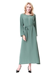 cheap -Women's Party Casual/Daily Simple Vintage Active Loose Jalabiyah Kaftan Dress,Solid Round Neck Midi Long Sleeve Wool Polyester All Season