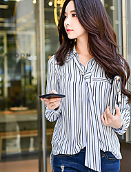 cheap -DABUWAWA Women's Daily Work Vintage Spring Fall/Autumn Shirt,Striped Vintage Shirt Collar Long Sleeves Polyester Medium