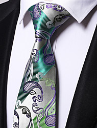cheap -Men's Polyester Necktie,Casual Floral All Seasons Light Green
