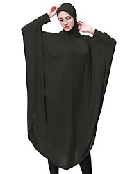 cheap -Women's Party Casual/Daily Simple Abaya Kaftan Dress,Solid Round Neck Midi Long Sleeve Spandex All Season Mid Rise High Elasticity Opaque