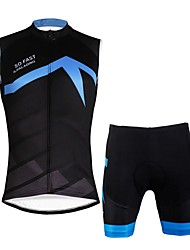 cheap -ILPALADINO Men's Sleeveless Cycling Jersey with Shorts - Black/Blue Bike Vest/Gilet Padded Shorts/Chamois Clothing Suits, Quick Dry, 3D