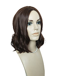 cheap -Women Synthetic Wig Capless Short Body Wave Dark Brown Natural Hairline Layered Haircut Asymmetrical Haircut Celebrity Wig Natural Wigs
