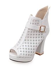 Femme Chaussures Similicuir Printemps Eté Nouveauté Sandales Talon haut Bout ouvert Pour Mariage Soirée & Evénement Blanc Noir
