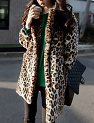 cheap -Women's Daily Simple Casual Winter Fur Coat,Leopard Peter Pan Collar Long Sleeves Long Others