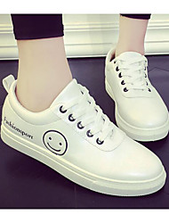 cheap -Women's Shoes PU Spring Fall Comfort Sneakers Walking Shoes Creepers Round Toe Ribbon Tie for Casual Black Green Pink