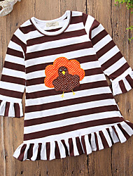 cheap -Girl's Christmas Holiday Striped Print Dress,Cotton Polyester Long Sleeves Casual Active Cartoon Punk & Gothic Princess Brown