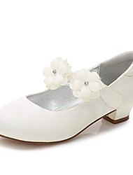 cheap -Girls' Shoes Satin Spring Fall Comfort Ballerina Flower Girl Shoes Tiny Heels for Teens Ankle Strap Heels Sparkling Glitter Buckle Split