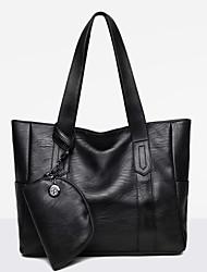 女性 バッグ オールシーズン PU バッグセット 2個の財布セット ジッパー のために ショッピング カジュアル ブラック ルビーレッド グレー パープル