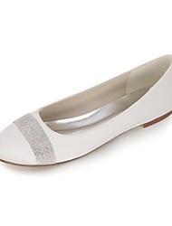cheap -Women's Shoes Satin Spring / Summer Ballerina Wedding Shoes Flat Heel Round Toe Rhinestone / Sparkling Glitter Blue / Champagne / Ivory