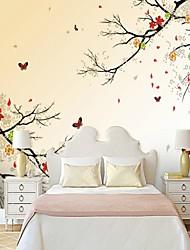 abordables -Fleur arbres/Feuilles 3D Décoration d'intérieur Moderne Classique Rustique Revêtement, Toile Matériel adhésif requis Mural, Couvre Mur