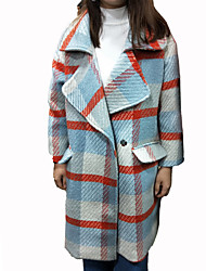 cheap -Women's Daily Street chic Winter Fall Coat,Plaid Notch Lapel Long Sleeves Long Others