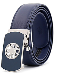 cheap -Men's Leather Alloy Waist Belt,Royal Blue Black Brown Party Work Casual Solid Metal Pure Color