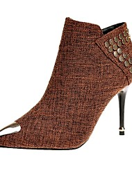 Недорогие -Жен. Ткань Зима Армейские ботинки Ботинки Заостренный носок Сапоги до середины икры Черный / Коричневый