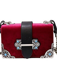 Women Bags Velvet Crossbody Bag Buttons for Casual Winter Black Red Dark Green