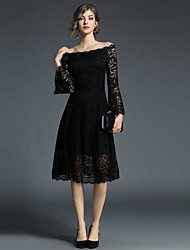 cheap -Women's Going out Vintage Flare Sleeve Lace Dress - Solid Colored Lace / Mesh High Waist Off Shoulder / Fall / Winter