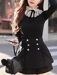 Mujer Regular Pullover Noche Casual/Diario Vintage Bonito,Un Color Escote Chino Manga Larga Algodón Acrílico Poliéster Invierno Otoño
