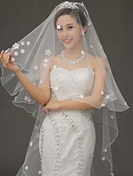 Véu de casamento de um nível de véu de dedo acessórios de casamento de tule / laço