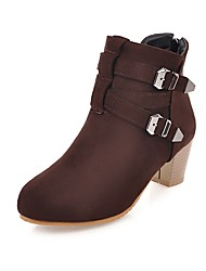 cheap -Women's Shoes Leatherette Fall Winter Fashion Boots Boots Round Toe Booties/Ankle Boots Buckle For Casual Dress Brown Yellow Black