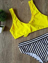billige -Dame Med stropper Bandeau Bikini - Stribet, Trykt mønster Cheeky